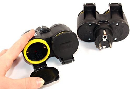 Feuchtraumsteckdose - K&B Vertrieb- SCHUKO KUPPLUNG Schuko Schukokupplung Schuko-Kupplung 220V IP44 Schutzkontaktkupplung Deckel 732 (1 Stück)