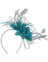 Diadema con tocado para bodas y eventos, con velo y plumas, color gris plateado y azul turquesa