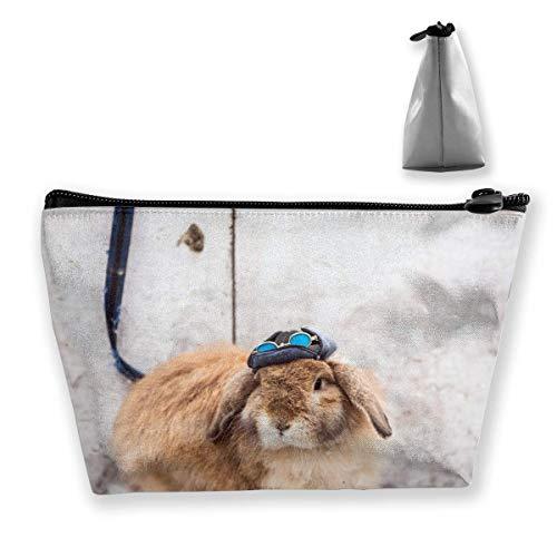 Cooles Kaninchen mit Hut multifunktionale Trapez Aufbewahrungstasche Kulturbeutel Reißverschluss erhalten Tasche