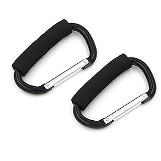 Aulola Black D Shape 14cm Large Buggy Carabiner Hook Pram Pushchair Stroller Clip Hook Accessories Shopping Bag Holder(2pcs in pack)