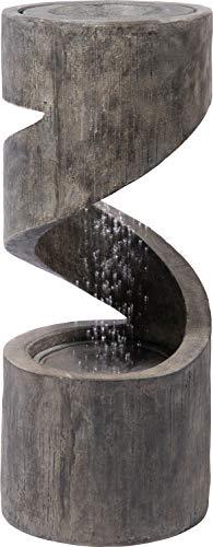 dobar Großer Design Gartenbrunnen mit Pumpe und LED´s, spiralförmiger Wasserfall mit Pflanzkasten aus Kunststein, Grau, Ø 31,5 x 79,5 cm