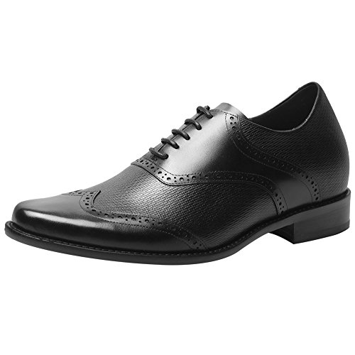 CHAMARIPA Leder Taller Schuhe Wingtip Oxfords Kleid Schuhe für Mann Höhe 7cm/2,76 Zoll-H81D38X011D (Schuhe Wingtip)