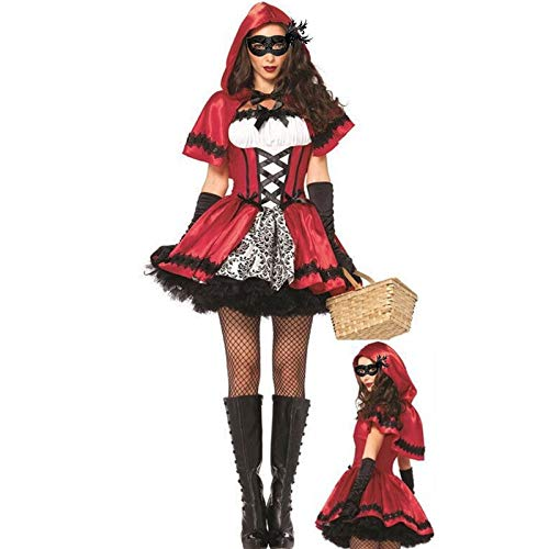 s - Halloween Costumes Cosplay Little Red Riding Hood Fantasy Game Uniforms Fancy Dress Outfit - Party Decorations Party Decorations Artificial Rainbow Fantasy Outfit ()