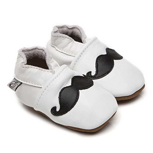 Soft Leather Baby Shoes Moustache White 6 12 months Baby