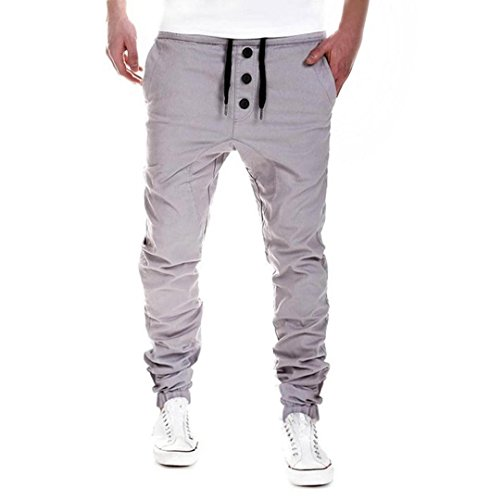 ZEZKT-Herren Herren Boxing Gym Freizeit Hose Gesteppt Schwarz Baumwolle Casual Loose fit Chino Hose Sweat-Pants Lange Hose Stretch Komfortablem (2XL, Grau) (Baumwoll-vintage-leggings)