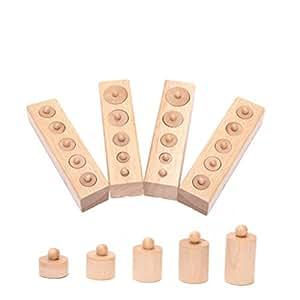 Pixnor Jouet en bois éducatif Montessori cylindre prise début développement sens