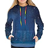 Women's Hoodies Tops,Mystical Winter Season Wonderland with Starry Sky Dark Night Magical Forest Landscape,Hoodie Sweatshirt Apparel for Women,Lady, Teens And Girls,Size:XL