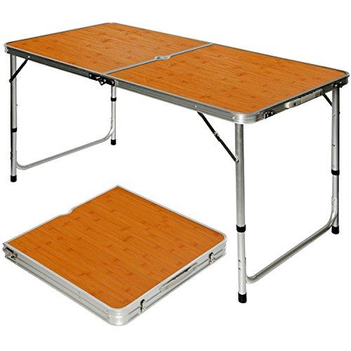 Amanka tavolino da pic-nic 120x60x70cm tavolo da campeggio in alluminio altezza regolabile pieghevole formato valigia bambù
