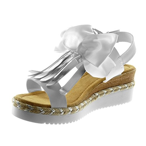 Angkorly Chaussure Mode Sandale Mule Lanière Cheville Plateforme Femme Noeud Frange Corde Talon Compensé Plateforme 5.5 cm Blanc