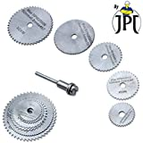 "JPT 5pc 1/8"" Shank High Speed Steel HSS Saw Disc Wheel Cutting Blades with Mandrels for Dremel Fordom Drills Rotary Tools"
