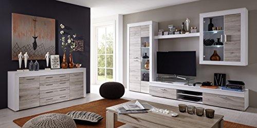 trendteam BM87277 Sideboard Wohnzimmerschrank weiß Pinie Struktur Nachbildung, Fronten Eiche San Remo  Sand Nachbildung, BxHxT 176x79x40 cm - 3