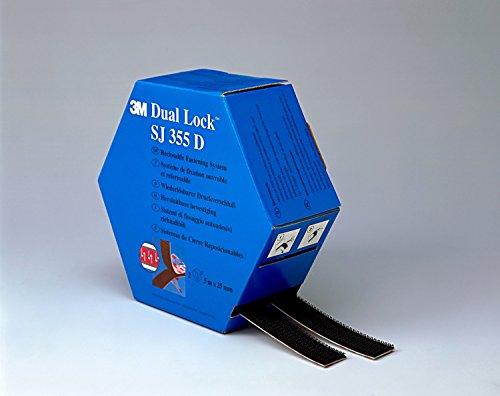 3M Dual Lock flexibler Druckverschluss in Spendebox / Selbstklebendes Pilzkopf-Band mit VHB-Klebstoff - für hochenergetische Oberflächen im Innen- und Außenbereich / 25 mm x 10 m