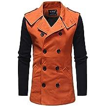 ZODOF Chaqueta de Hombre Los Hombres de Moda otoño Invierno botón Impresa Manga Larga Escudo Outwear