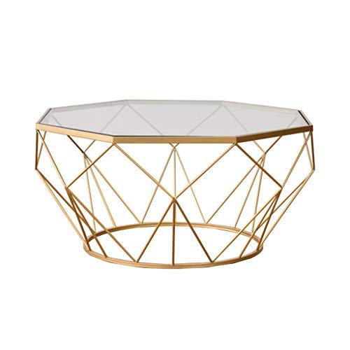 Y-Leah Nordic Schmiedeeisen Couchtisch, Golden Frame Runde gehärtetes Glas, Wohnzimmer Sofa, Verschiedene Größen erhältlich - Frame-couchtisch