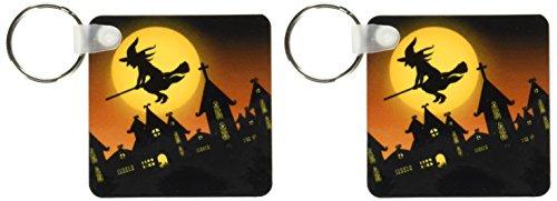 3drose Spooky Halloween Town mit fliegenden Hexe Schlüssel Ketten, Set 2Stück (KC 172236_ 1)