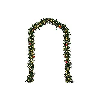 Sayla Navidad Decoración Guirnalda Navideña de 270cm con Abeto y Bayas Artificiales e Luces LED Blanco Cálido para Uso en Exteriores