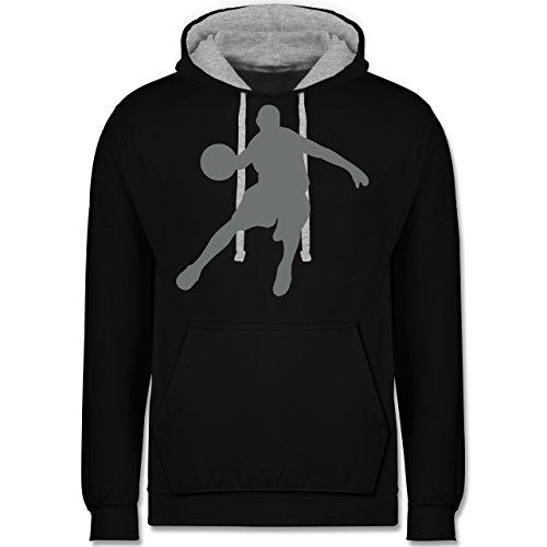 Basketball - Basketballspieler - Kontrast Hoodie Schwarz/Grau Meliert