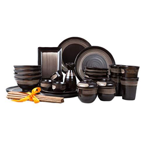 Bol à soupe en céramique rétro noir/bol à riz/tasse / assiette à plat/cuillère / baguettes/bassin profond (Couleur : NOIR)