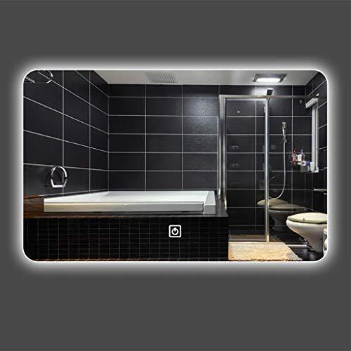 Baño Espejo_LED Lámpara Montado en la Pared Antiniebla Baño Baño Espejo Elegante Baño Inteligente Bluetooth Música Pantalla táctil Desempañador electrónico...