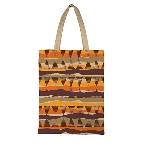 DKISEE Tribal Ethnic Seamless Pattern with Geometric Elements Reusable Canvas Tote Handbag Eco-Friendly Printed Tote Bag Large Casual Shoulder Bag Shopping Bag -