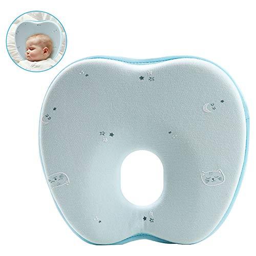 Babykissen, Babykopfkissen gegen Plattkopf und Kopfverformung, Baby Kissen Orthopädisch, Comficent Atmungsaktiv Memory Schaum Baby Kopfkissen, zum Neugeborene Junge Mädchen, mit einem Bezug (Grün)