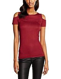 Urban Classics Ladies Cutted Shoulder Tee, T-Shirt Femme, Bordeaux, X-Small
