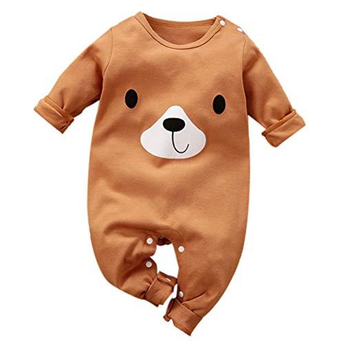 Baby Jungen Mädchen Strampler Bär Musterdruck Design Baby Süß Langarm Pyjamas Säugling Outfit Overall Schlafanzug Kleidung