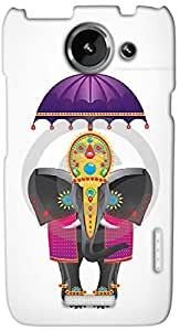 Timpax Protective Hard Back Case Cover With Easy access to all ports Printed Design : A decorated elephant.100% Compatible with HTC X+ ( Plus )