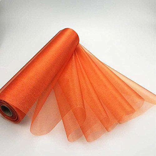 pinlei 29cm di larghezza x 25m di lunghezza rotolo di Organza Tessuto Runner da tavolo sedia fasce fiocchi fiocco per decorazione Arancione
