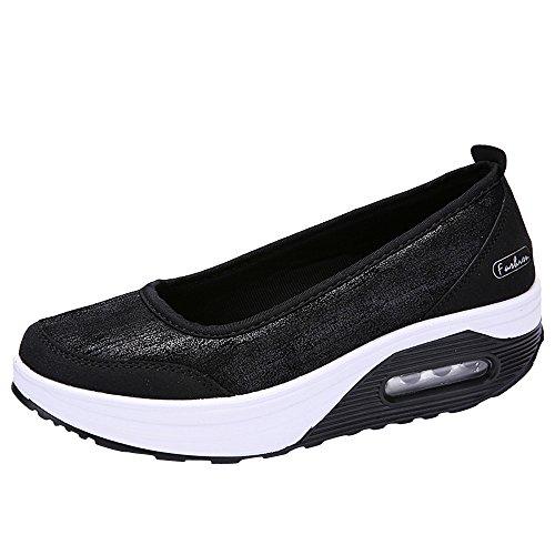 SuperSU Damen Atmungsaktiv Netz Keilabsatz Schuhe Leicht Laufschuhe Fitness Laufen Freizeitschuhe Mode Frauen Luftpolster Plateauschuhe schütteln Schuhe Slip Sport Turnschuhe Pumps Segelschuhe -