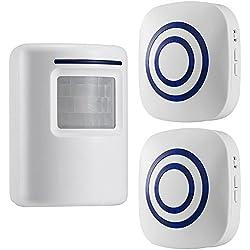 GZCRDZ sans fil Allée Alerte: détecteur de mouvement infrarouge de sonnette d'alarme Carillon avec 2 récepteur et 1 Sensor 38 Chime Tunes - indicateurs LED