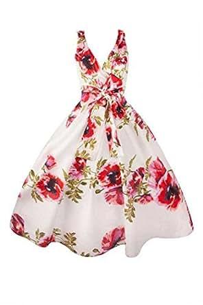 New Ladies 1950's Retro Vintage Floral Party Swing Dress - Size 16