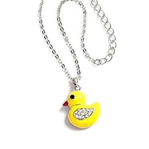 Collier enfant avec pendentif motif canard / poussin en métal et émail jaune