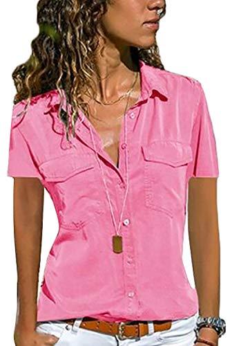 Schöne Bluse (Yieune Bluse Damen Elegant Oberteil Chiffon Langarmshirt Casual V-Ausschnitt Tunika T-Shirt Tunika Hemd (A-rosa, 5XL (EU 46)))