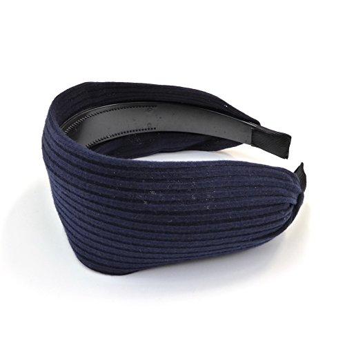 rougecaramel Haarreif breit aus Stoff 6cm uni blau marineblau