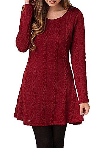 Summer Mae Femme A-ligne Robe En Tricot A Manches Longues Rouge