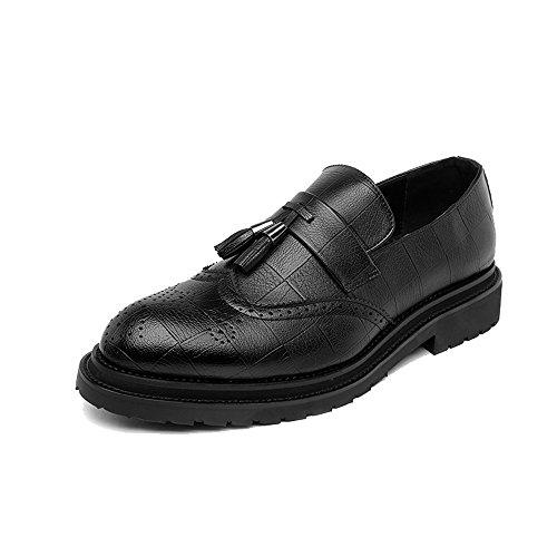 MXNET Leder Oxford Schuhe Männer, Business Brogue Schuhe PU-Leder Oberen Quaste Anhänger Slip-on Wingtip Dekoration Atmungsaktive Außensohle Oxfords für Männer (Farbe : Black, Size : 41 EU) (Herren Wingtip Boot Klassische)