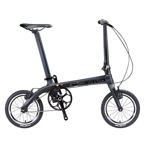 SAVADECK 14' Bicicletta Pieghevole Telaio in Fibra di Carbonio a Scatto Fisso Bicicletta Fissa a Scatto Singolo Bicicletta Pieghevole in Città Mini Bicicletta Pieghevole con fari