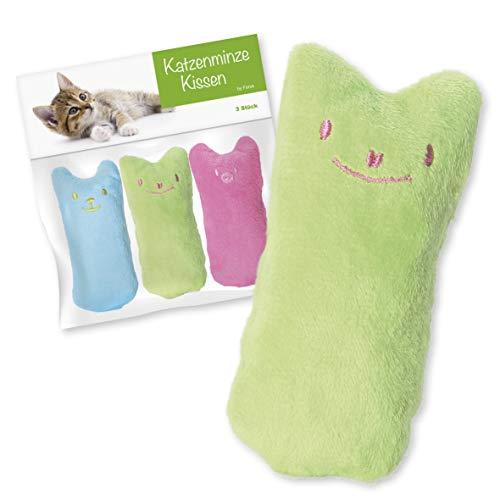 Forck Katzenminze Kissen (3 Stück), Knuddelkissen | Schmusekissen mit extra viel natürlichem Catnip zum Kuscheln und Spielen | Natürliches Katzenspielzeug für alle Katzen und Kitten geeignet
