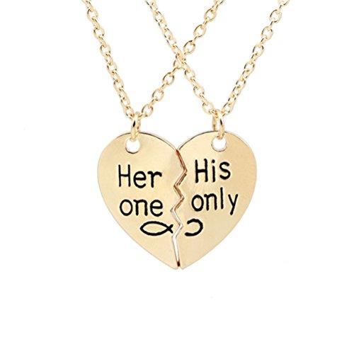 LUOEM Verliebte Paar Halskette Anhänger mit Gravur Gebrochene Herz Valentinstag Geschenk (Gold) (Herz Halskette Paar)
