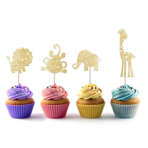Lion Affe Giraffe Elefant Safari Cupcake Topper 12Pack Cupcake Topper Dekoration Kuchen (Safari Cupcake Toppers)