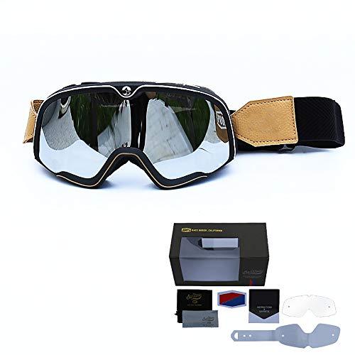 Mmsww Ski-Brillen, Hundert-Brillen Vintage Motorcycle Ride Doppeldecker-Brille Brille,G