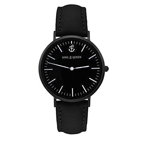 King & Queen/orologio da donna & uomini orologio/semplice, elegante & sempre adatto./Nero-Argento
