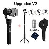 feiyu-tech G5(versión actualizada V2) 3eje cardán de mano para GoPro Hero 6/5/4/3, Yi Cam 4K, AEE cámaras de acción de similar tamaño incluye palo telescópico/Selfie Stick con trípode y batería extra