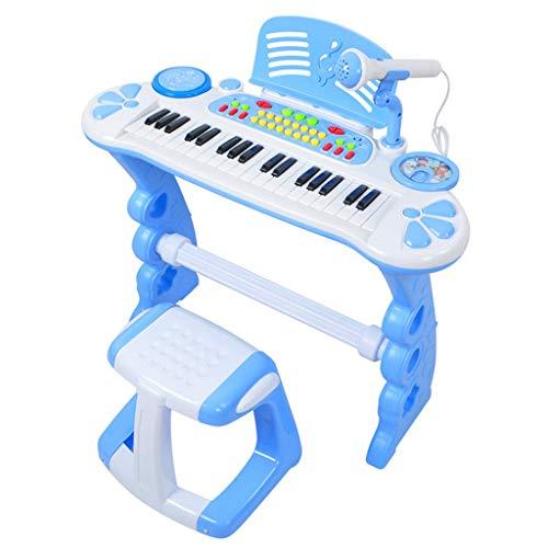 Pianoforte elettronico per bambini con microfono maschio e femmina regalo di compleanno pianoforte giocattolo musicale multi-funzione 3-6 anni principiante con microfono (colore : blu)
