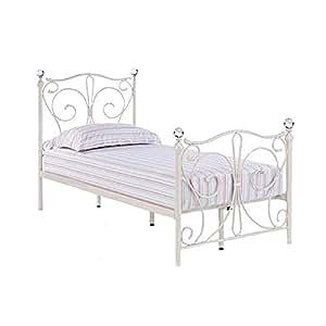 lpd furniture florence cadre de lit simple en m tal blanc cuisine maison. Black Bedroom Furniture Sets. Home Design Ideas
