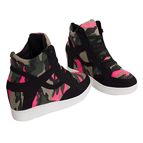 jeansian Moda Donna Casuale Tela Piattaforma Incunearsi Scarpe da Ginnastica Wedge Sneakers WSB014 Black 37