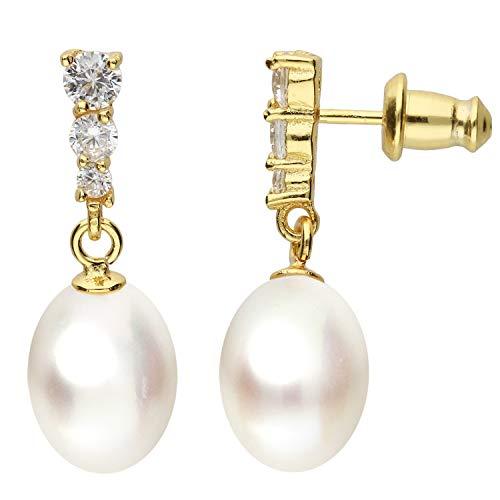 MYA Art Damen Perlenohrringe Ohrstecker Ohrringe Hängend 925 Silber Gold Vergoldet Tropfen Anhänger mit Zirkonia Zuchtperlen Perlen MYASIOHR-118