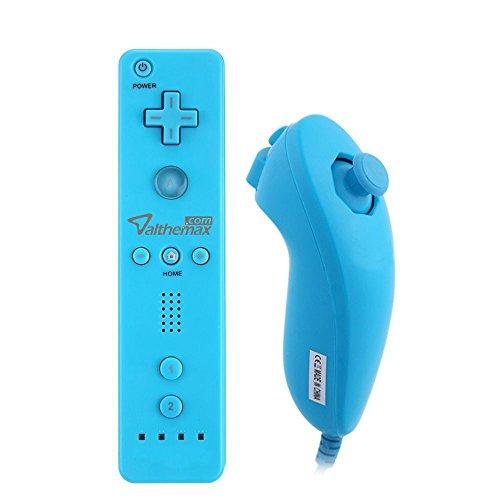 Althemax Fernbedienung WiMote und Nunchuck Controller Fernbedienungen Set Combo mit Silikonhülle und Handschlaufe für Nintendo Wii / U / Mini- Blau