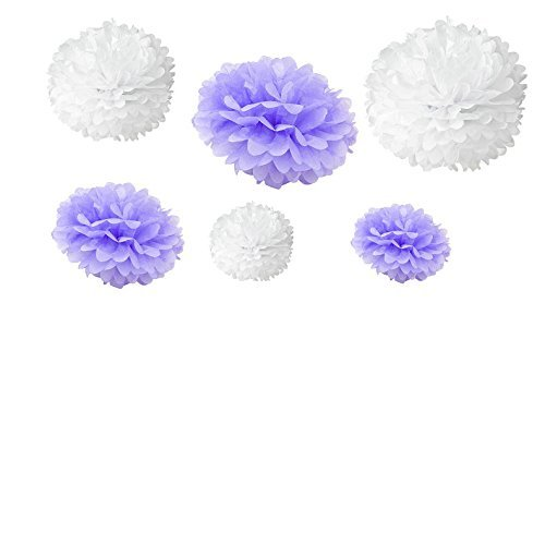 (Generic Set of 12pcs Mixed 3 Sizes White Lavender Tissue Paper Pom Poms Flower Wedding Party Baby Girl Room Nursery Decoration by Somnr)